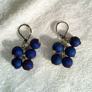 Jewelry - Blue iridescent spherical bead dangle earrings
